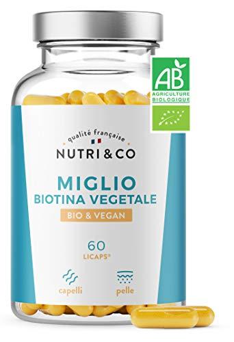 Biotina Vegetale Pura e Olio di Miglio BIO | Integratore Alimentare Alto Dosaggio Capelli Crescita e Anticaduta | Vitamina B8 per Cura Pelle e Unghie | 60 Capsule per Uomo e Donna | Vegan | Nutri&Co