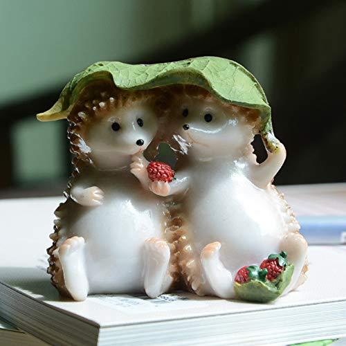 BRTTHYE 1 Stks Leuke Animal Figurines Tuindecoratie Outdoor Hars Egel Familie Miniaturen Beelden