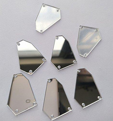 30 Cuentas de espejo para coser, forma irregular, ideales para trajes, vestidos de noche, prendas de vestir, plata, 35 mm