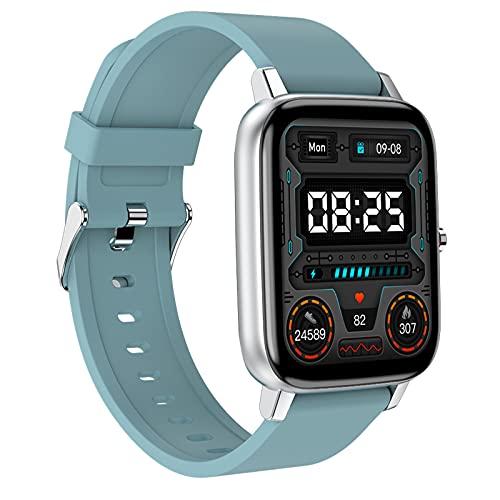 HQPCAHL Smartwatch, Reloj Inteligente con Monitoreo De Temperatura/Sueño, Pulsómetro, Monitor De Presión Arterial, Oxígeno En Sangre, Reloj Deportivo Hombre Mujer para iOS Y Android,Azul