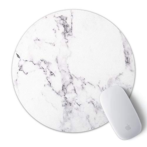 iLeadon Gaming Mouse Pad, Anti Slip Natural Rubber Mouse Mat for Desktops, Computer, PC and Laptops, Customized Round Mousepad for Working Or Game, White Marble