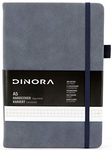 Dinora® Notizbuch A5 Hardcover - Kariert - PU Leder - 200 nummerierte Seiten - 100g Avery Papier - Tagebuch - Skizzenbuch