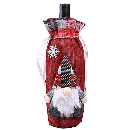 Botella de vino tinto cordón, bolso de decoración de botella Cubiertas para la cena de la Navidad Decoraciones de la mesa de la mesa Herramientas de la barra Accesorios Accesorios de tela de saco,Rojo