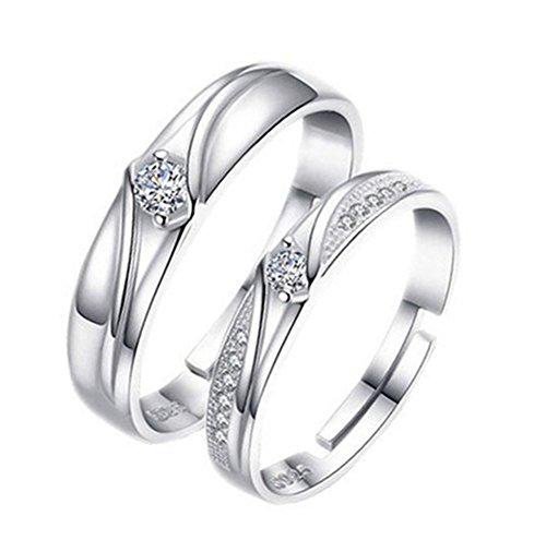 Monbedos 2 x paar ringen diamanten ringen paar ringen voor hem en haar kan verstelbare ring