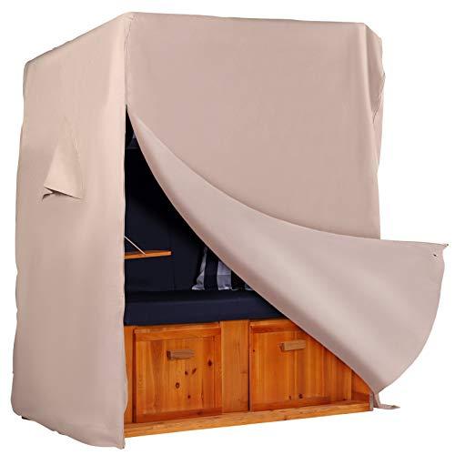 Strandkorb Hanse Schutzhülle aus 600 D Oxford Gewebe mit extra flexiblem Klettverschluss| Premium Strandkorbhülle in beige| Winterfest | Garten > Strandkörbe | Strandkorb Hanse