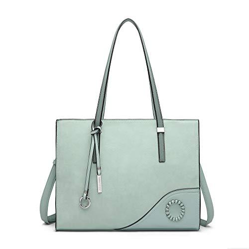 Miss Lulu Handtaschen Damen Schultertasche Große Elegante Aktentasche für Arbeit Reise (Grün)