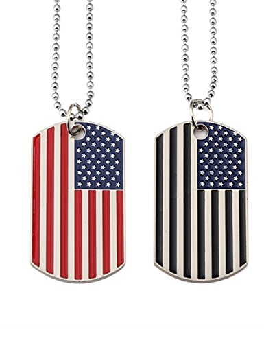 Kings&Pauper 2pcs American Flag USA Patriot Necklace Pendant Jewelry Army Card Stainless Steel Dog...