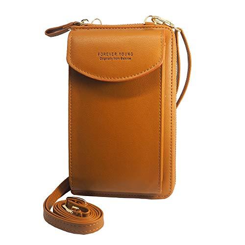 RAYPOW Forever Young Kleine Crossbody Tasche Ocker · Handytasche Brieftasche mit Credit Card Slots für Frauen