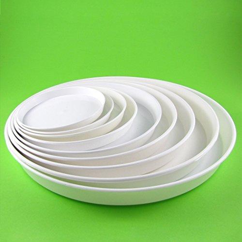 Blumentopf Untersetzer aus Kunststoff, rund, Farbe: weiß 14,5cm