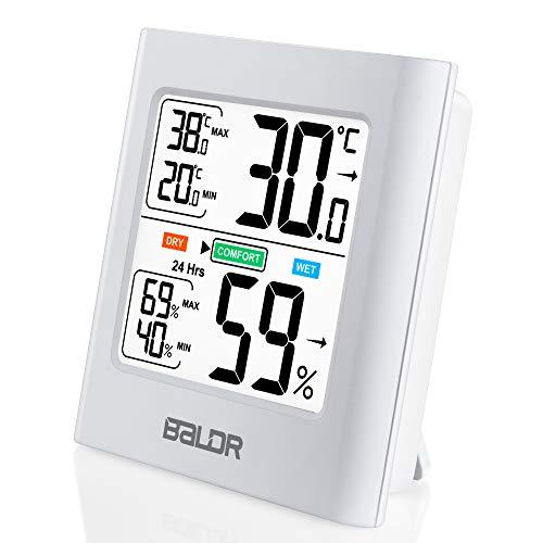 Thermometer Hygrometer, Huttoly Thermometer Innen Digitales Thermo-Hygrometer mit Induktion Beleuchtung, Innen Außen Luftfeuchtigkeitsmessgerät, Hydrometer Feuchtigkeit für Babyzimmer Wohnzimmer Büro