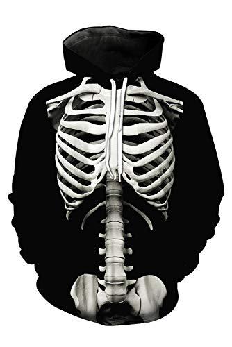 RedJade Caballeros Esqueleto Impresión 3D patrón Camisa de Entrenamiento Capucha Sudadera con Capucha Sudadera con Capucha Jersey Pull-Over Chaqueta El Grafiti Pintada Negro