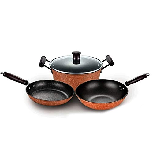 YYCHJU Cookware Set for Gas, Electric and Stovetop Set 3 Pieces Nonstick Pots and Pans Induction Saucepan Chemical-Free Kitchen Sets Skillet Easy to Clean Stock Pot