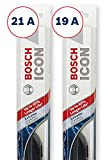 Bosch ICON Wiper Blades (Set of 2) Fits 2010-07 Volkswagen Golf City; 2004-00 Kia Spectra; 1999-95 Nissan Sentra & More, Up to 40% Longer Life