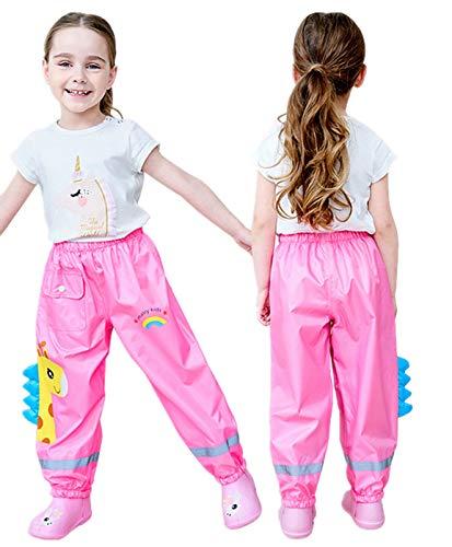 TURMIN 3D Carino Pantaloni Impermeabili Bambino, Pantaloni Pioggia Bambini Pantaloni Antipioggia Pantaloni Leggeri da Fango Impermeabili da Bambina per Ragazzi Ragazze 2-12 Anni-Rosa-XL