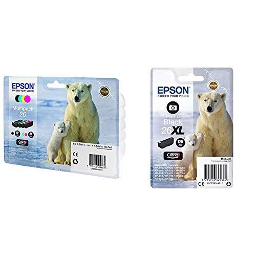 Epson C13T26164511 - Multipack 4-Colours 26 EasyMail + C13T26314012 - Cartucho de tóner Adecuado para XP600, Color Foto Negro