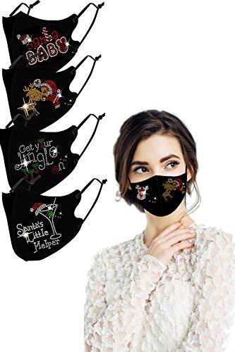 Fashion Crystal Christmas Santa Printed Cloth Mask for Women, Reusable Xmas Rhinestone Face Covering with Adjustable Ear Loops(Mixed Print)