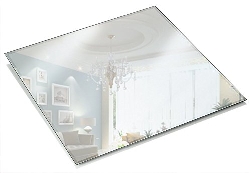 Light In The Dark 12 Inch Square Mirror Candle Plate 3 mm Thick with Beveled Edge Set of 12