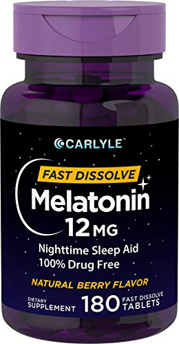 Carlyle Melatonin 12 mg Fast Dissolve 180 Tablets | Nighttime...