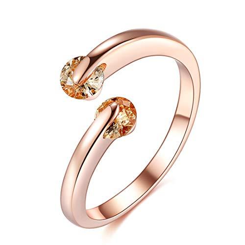ローズゴールド シルバー925 女性用の人気リング、スライドの水晶の装飾、 サイズ12調整可能、ギフトボックス
