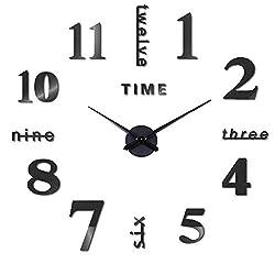ZJS Large Black 3D Frameless Wall Clock DIY 3D Wall Clocks Modern Design Acrylic Wall Clocks Wall Decals Decoration Clocks for Office Living Room Bedroom Clock Gift Home Deco Quartz Clock (Black)