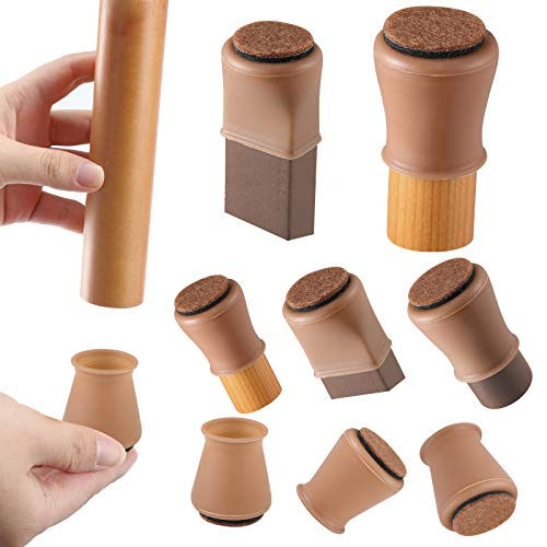 "Brown Silicone Chair Leg Floor Protectors w/Felt, Chair Leg Caps Silicon Furniture Leg Feet Cover Slide Protect Wooden Floor No Scratches Table Leg Caps 16Pcs (Medium Fit: 1.2-1.5"", Brown)"