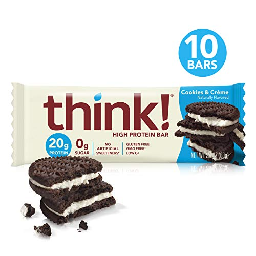 thinkThin High Protein Bars - Cookies & Crème, 20g Protein, 0g Sugar, No Artificial Sweeteners, Gluten Free, GMO Free*, Best Nutritional Snack/Meal bar, 2.1 oz bar (10Count)