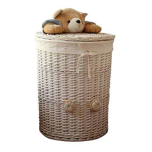 JWIL Storage basket Decorative Home Storage Bins Decorative Baskets Organizing Baskets with Lids,Handmade Wicker Storage Baskets for Home Office Closet Toys Clothes (Color : Beige, Size : 30x30x36cm)
