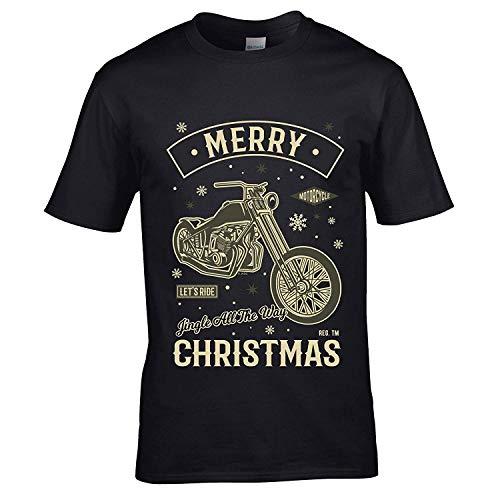 Sticker Licker Premium grappig Retro Monochrome Merry Christmas motorfiets café loper chopper kerstmotief geschenk heren zwart T-shirt top