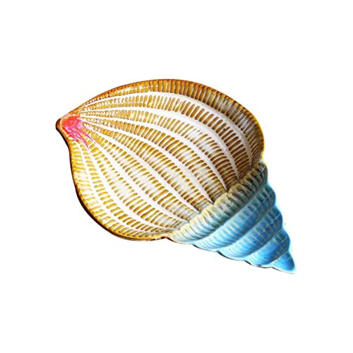 JUNYYANG Placa de cerámica del Cuenco de Fruta de la Vendimia Concha náutico de la decoración del Ornamento Jabonera Bandeja sostenedor de la Esponja