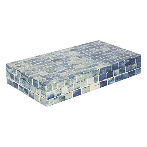 Handicrafts Home Indigo Mosaic Keepsake Decorative Jewelry Storage Organizer Box Handmade 12X6X2 Inch – Christmas Gifts