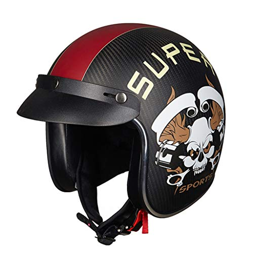 TYX Cascos, guerrero, medio casco de motocicleta para hombres y mujeres, tamaño ajustable, media cara, para bicicleta, crucero, chopper, ciclomotor, scooter, ATV, certificado DOT