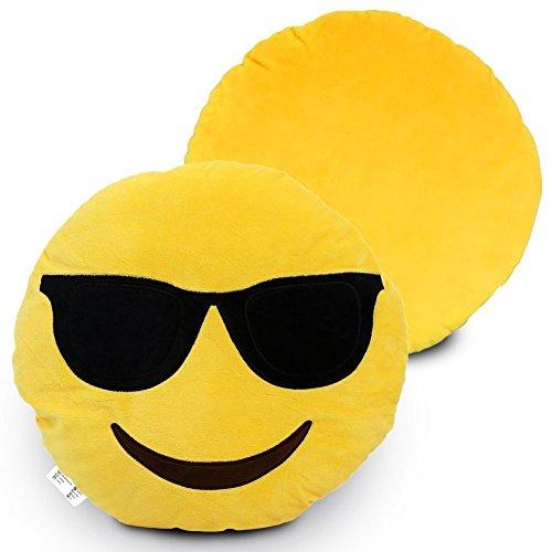 Desire Deluxe 32cm Smile Emoticon Cushion Smile Sunglasses Yellow Round Cushion Pillow Stuffed Plush Soft Gift Toy