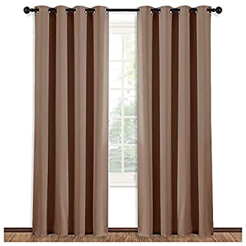NICETOWN Grommet Top Blackout Curtain Panel -  Cappuccino Color  Thermal Insulated Room Darkening Drape for Villa/Apartment/Rental Room 52 inches Wide by 84 inches Long 1 Piece
