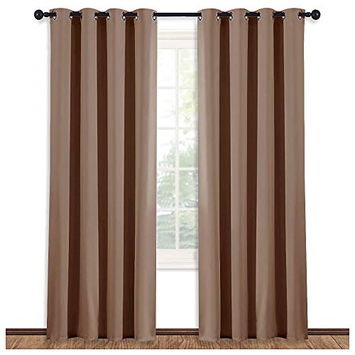 NICETOWN Grommet Top Blackout Curtain Panel - (Cappuccino Color) Thermal Insulated Room Darkening Drape for Villa/Apartment/Rental Room, 52 inches Wide by 84 inches Long, 1 Piece