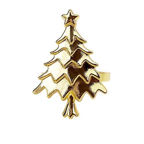 Yalulu Serviettenringe, 6 Stück Weihnachten Baum Serviettenringe Serviettenhalter für Tischdekorationen, Hochzeiten,Weihnachten, Banquet Dinner Dekor (Gold)