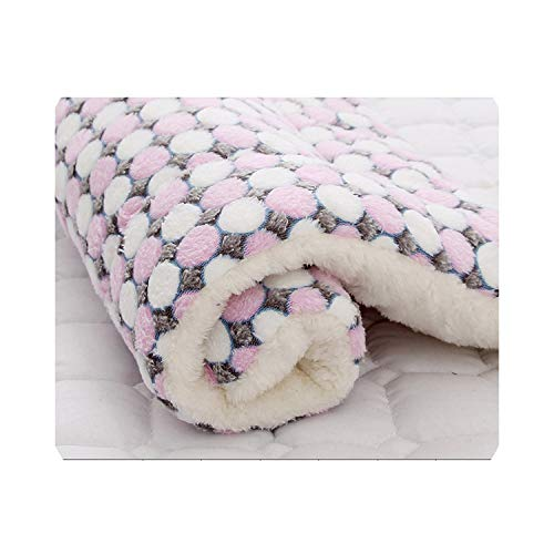 awret Soft Flannel Pet Mat Dog Bed Winter Thicken Warm Cat Dog Blanket Puppy Sleeping Cover Towel Cushion for Small Medium Large Dogs,Pink,51cm x 34cm