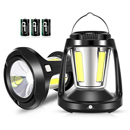 HEGALI Linterna LED de camping con función de sensor, funciona con pilas de 1800 lúmenes, luz de campamento COB 3 pilas (incluidas) perfecta para huracán, camping, kit de emergencia