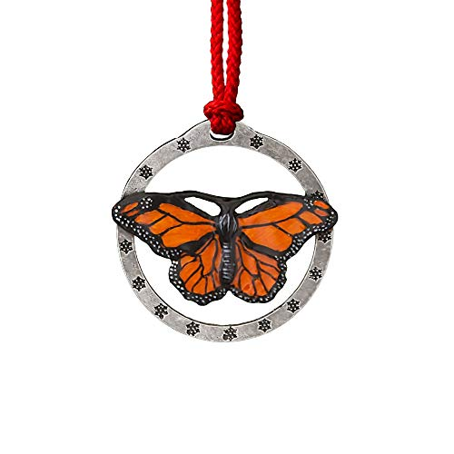 Monarch Butterfly Christmas Holiday Tree Ornament, Handmade, Lead Free Pewter, Made in USA