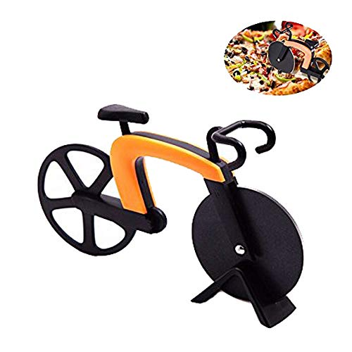 CLDGF Fahrrad Pizzaschneider, Edelstahl Klinge, Schneidmesser, Kreative Hob, Antihaft-Beschichtung Service Und Halterung, Fahrrad Küche Dekoration (Orange)