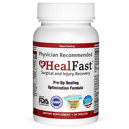 HealFast Surgery & Injury Recovery Supplement (Pre-Op): Supports Pre Surgery Optimization - for Wound Healing, Pain Relief, Scar Treatment & Bruising w/ Amino Acids, Vitamins, Probiotics - 30 Tablets