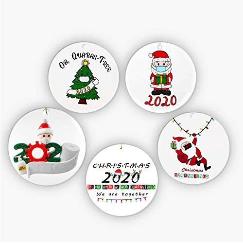 5 Piezas 2020 Adorno Navideño, árbol de Navidad de Cerámica Que Cuelga Decoraciones Navideñas en Cuarentena en Casa Familia, Snoopy con Máscara, Papá Noel DIY Decoración Navideña