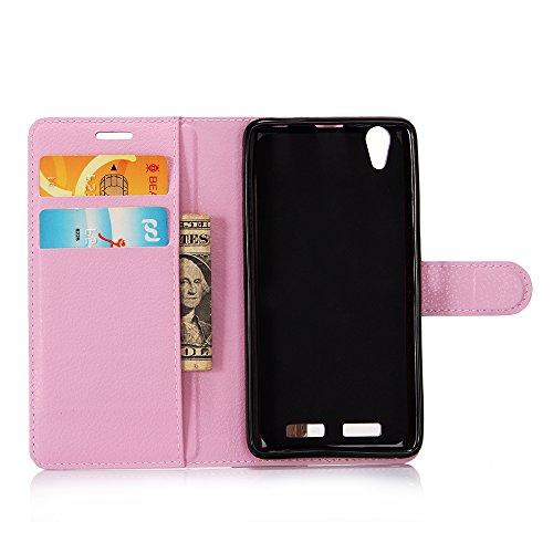 MINGYOUNG Funda para Lenovo K10(K10e70) Flip Cover Cuero Billetera Carcasa Card Slot Kickstand Magnética Case para Lenovo K10(K10e70) (Rosado)