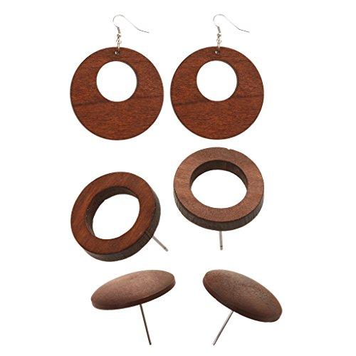 SDENSHI 3 pares de pendientes de madera Fai-da-Te, color marrón café, pendientes de botón con tachuelas de aro, resultados oficiales