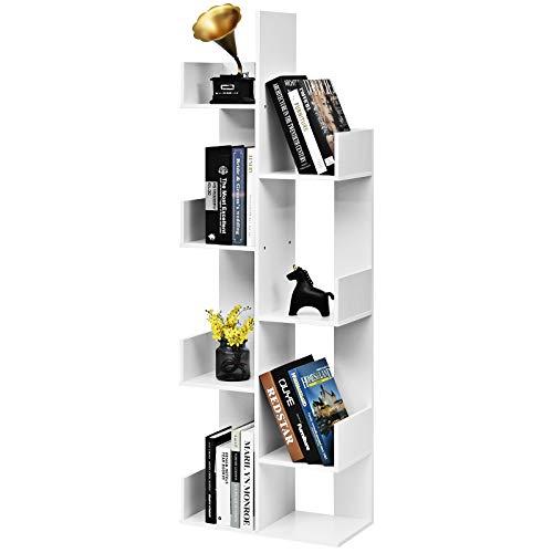 COSTWAY Bücherregal mit 8 offenen Fächern, Bücherschrank Holz, Standregal, Holzregal, Aufbewahrungsregal für Bücher, CDs, Pflanzen und Fotos (Weiß)