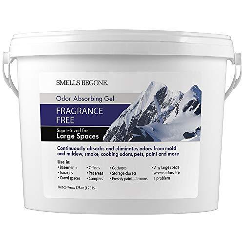 SMELLS BEGONE Odor Absorber Gel - Air Freshener & Odor Eliminator for Homes, Garages & Commercial Buildings - Industrial Strength - Fragrance Free - 1 Gallon