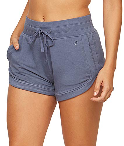 Colosseum Active Women's Four Way Stretch Micro French Terry Dolphin Lounge Short with Pockets (Vintage Indigo, Medium)