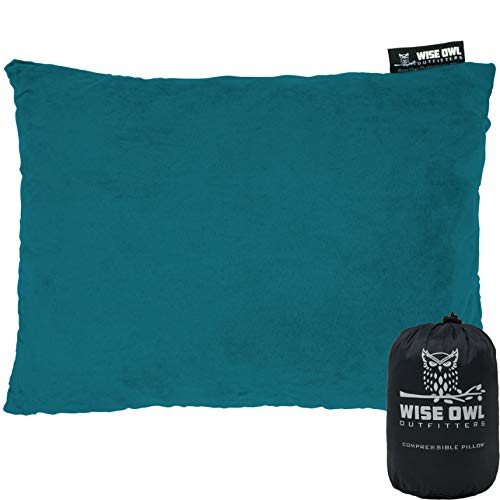 Wise Owl Outfitters Camping Pillow Compressible Foam Pillows – Use When Sleeping in Car, Plane Travel, Hammock Bed & Camp – Adults & Kids - Compact Small & Large Size - Portable Bag - MD Green