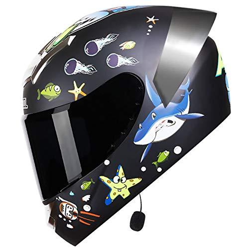 STRTG Casco Abatible con Bluetooth, Casco De Motocicleta Casco Integrado con Bluetooth Dot/ECE Casco Integral para Motocicleta Casco para Scooter Casco Antiniebla con Doble Espejo E,XXL