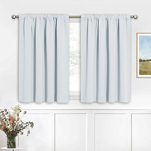 RYB HOME Kitchen Curtains Room Darkening Curtain Tiers Small Window Curtain Draperies for Nursery / Dining Room / Bathroom, 42 inch Wide x 36 inch Long, Grayish White, 2 Panels