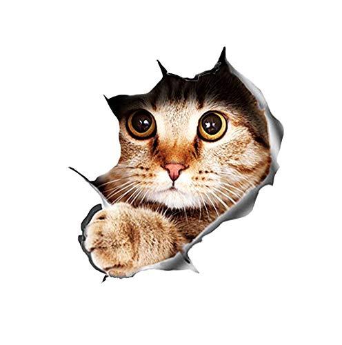 3D Kitty Auto Aufkleber, 3D Katze Kätzchen Tier Auto Aufkleber Lustige Persönlichkeit Simulation Motorrad Dekoration Auto Aufkleber Auto Styling Zubehör 15.5 * 21CM